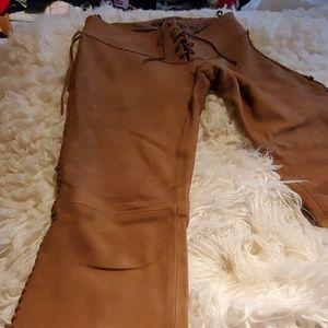 Ralph Lauren fringe 100% real leather pant
